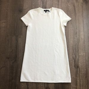 Theory Ivory Knit Ribbed Short Sleeve Mini Dress M